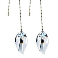Magnificent Crystal 2 In.Clear Crystal Leaf Prism 2 pieces Dazzling Crystal Ceiling FAN Pull Chains by CrystalPlace