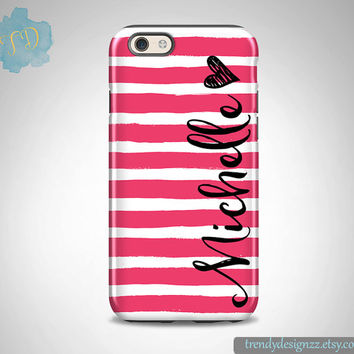 iPhone case, Personalized iPhone case, iPhone 6 case iPhone 6 plus case Samsung S6 Edge S5 case, Hot Pink Watercolor Stripes Heart (11)
