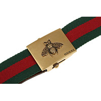 NEW GUCCI LUXURY CURRENT LEATHER BEE BUCKLE BELT  WEB CANVAS BROWN