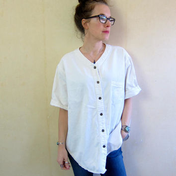 90s Vintage WHITE Denim Shirt Oversize Button Up Short Sleeve Jean TShirt Baseball Tee Boho Tomboy Slouchy Denim Top DES Womens XL 24W