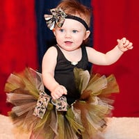 Army Brat Tutu...Camo Tutu with Shabby Roisette Headband...Infant, Baby Girl, Toddler