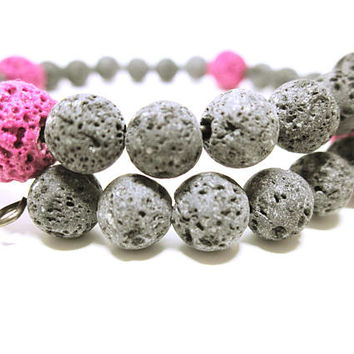 LAVA STONE Bead Wrap Bracelet Lava Stone Beads Pink And Natural Lava Stones Infuse With Your Favorite Essential Oil JEWELRY