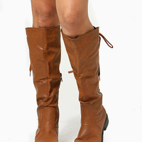 Chestnut Faux Leather Knee High Lace Up Riding Boots