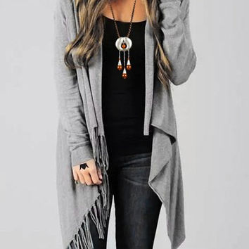 Gray Collarless Long Sleeve Fringed Cardigan