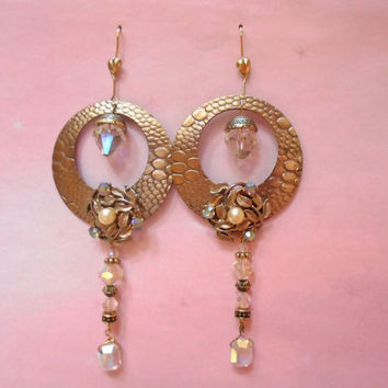 OOAK Statement Hoop Earrings Made with Vintage Aurora Crystals - BIG & LONG!