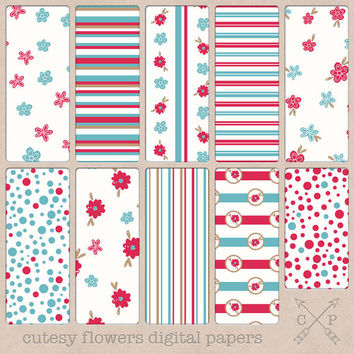 Red and Teal Hand drawn flowers digital paper pack scrapbooking backgrounds Includes original patterns with lines dots and shabby flowers