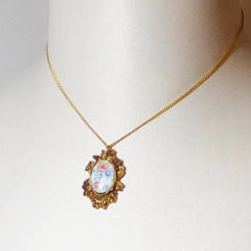 Floral Cameo Pendant, Chain Necklace, Gold Tone, Antiqued, Flowers, Filigree, Ornage, Oval, 16 inch, Small, Petite, Vintage