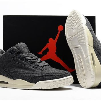 2017 Air Jordan Retro 3 Wool Dark Grey Men Basketball Shoes Retro 3s Athletic Sport Sneakers Boots Size 41 47