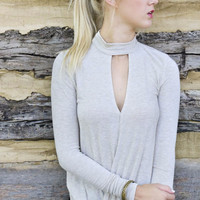 Take The Plunge Oatmeal Long Sleeve Mock Neck Surplice Top With Keyhole Cutout