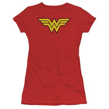 Wonder Woman Logo Short Sleeve Junior Sheer