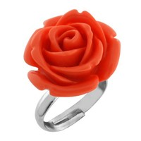 14MM Simulated Pink Coral Carved Rose Flower Ring Adjustable Finger Ring
