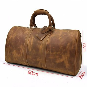 Men genuine leather travel bag durable crazy horse leather travel duffel big capacity Real leather large shoulder weekend bag