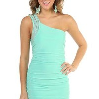 studded one shoulder club dress with double ruched sides - debshops.com