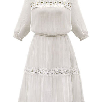 White Crochet Lace Embroidered Chiffon Blouson Half Sleeve A-Line Midi Dress