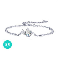 925 Sterling Silver 12 Constellations Zodiac Pendant Crystal Bracelet (Cancer)