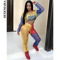 BOOFEENAA Organza Mesh Sexy Two Piece Set Top and Pants Streetwear Autumn Tracksuit Women Fashion Outfits Matching Sets C52-AC66