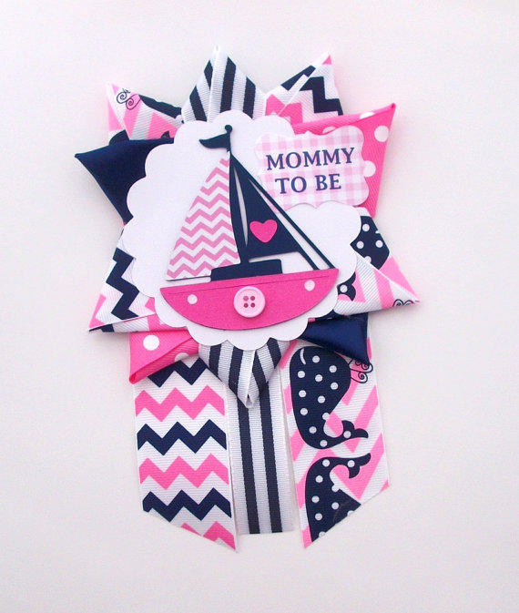 nautical girl baby shower corsage  from crazycraftfrog on etsy, Baby shower invitation