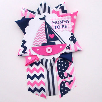 Nautical Girl Baby Shower Corsage - Sailboat Theme in Pink and Navy Chevron -  Ready To Ship