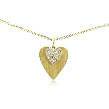 Diamond Double Heart Necklace Yellow Gold