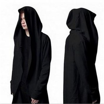 2015 Men's Winter Long Section of The Hooded Cloak Cape Cardigan Hoodie Jacket [8834073036]