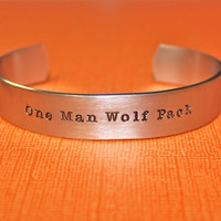 One Man Wolf Pack - Custom Hand Stamped Bracelet by The Stampster