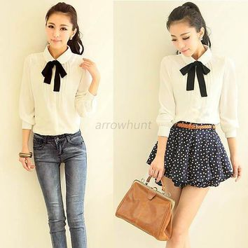 Womens Bowknot Peter Pan Collar Chiffon T-shirt OL Lady Button Down Shirt Blouse