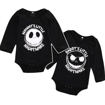 Newborn Baby boys girls Little nightmare Bodysuits Onesuit Infant Babies Kids Cotton Bodysuit one-pieces Outfits Kids Clothing