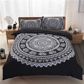 Bohemia Style Black White Purple Printing Duvet Cover set(quilt cover+pillow case) Queen Size bedding sets(no filling,no sheet)