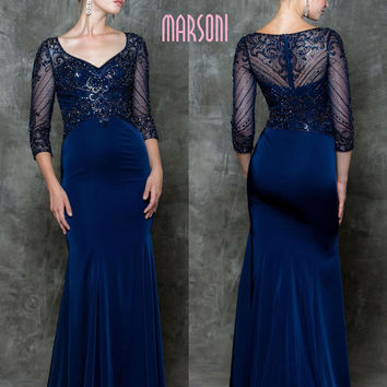 MARSONI M175 Beaded Sheer Half Sleeve Mother of Bride Evening Dress