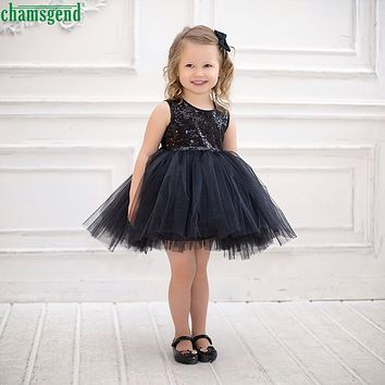 CHAMSGEND Black Sequins Baby Girl Kids net poncho Patchwork O-Neck Sleeveless Dress Casual Sundress Bubble Dress jul31 P30