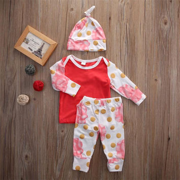 Newborn Baby Girls Outfits Clothes Set Long Sleeve Floral Tops T-Shirts Pants Casual Hat 3pc Set Baby Girl Clothing