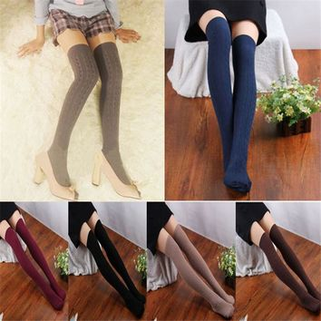 New Style Fashion 1 Pair Cotton Women Female Knit Over Knee Thigh Socks Spiral Pattern High Winter Long Socks For Women #20