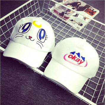 New Take Care of My Cat Snapback Adjustable Hat White Okay Letter Cap For Leisure outdoor sun travel hat for MRS girls