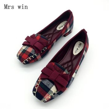 England Style Gingham Women Casual Loafers Spring Autumn Square Toe Bowtie Slip On Fla