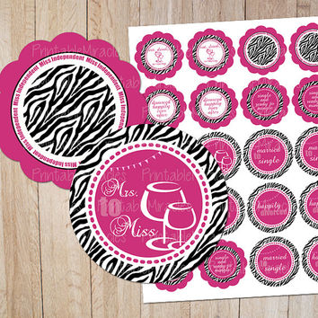 8 Divorce Party zebra hot pink cupcake toppers printable circles DIY party decoration labels favor tags Instand Download