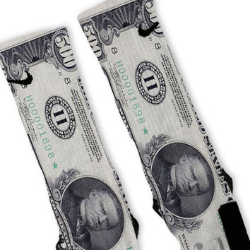 500 Dollar Bill Custom Nike Elite Socks