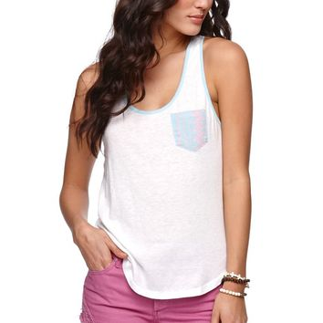 Nollie Pocket Racerback Tank - Womens Tee - White - Medium