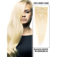 "S-noilite® Salon 26"" Straight Ash Blonde One Piece 5 Clips Clip In Hair Extensions Fashion Design For American Lady Women 5A Synthetic Long Harmless"