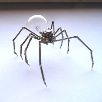 Mechanical Spider Sculpture Made from Recycled Watch Parts Clockwork Arachnid Figurine Watch Stems Lightbulb Arthropod A Mechanical Mind