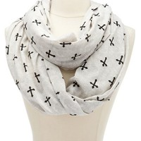 LACE PRINT CROSS INFINITY SCARF