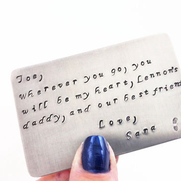 Hand Stamped Wallet Insert Card, Copper or Aluminum, 10 Year Anniversary, Dads Gift, Moms Gift,  For the one You LOvE, Design Your Own Card