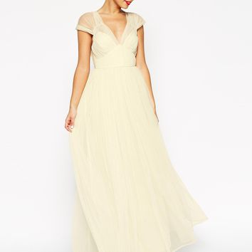 ASOS WEDDING Ruched Mesh Panel Maxi Dress