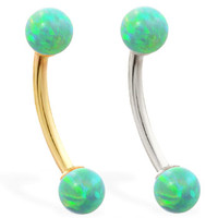 14K real gold curved barbell with Green opal balls