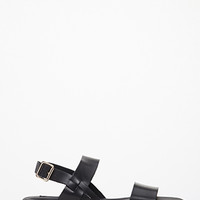 Colorblocked Faux Leather Flatform Sandals