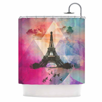 "alyZen Moonshadow ""EIFFEL TOWER (DEEP PINK)"" Multicolor  Shower Curtain"