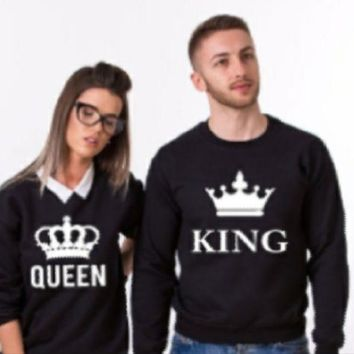 PEAPIH3 [king queen] fashion couple letter sweater