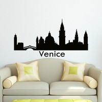 Wall Decal Vinyl Sticker Venice Skyline City Scape Silhouette Decor Sb115