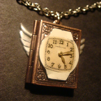 Victorian Style Steampunk Locket Necklace with Watch Face and Wings (526)