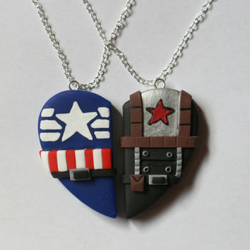 Captain America and Bucky Barnes Inspired Friendship Necklaces