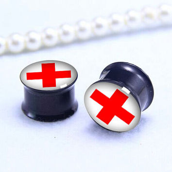 Red Cross  ear Plug   , Screw on Gauge ear plugs , Black Titanium ear plugs ,Pricing body jewerly